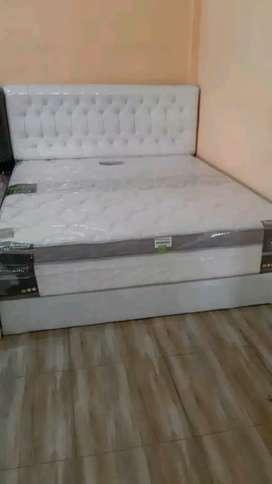 1 set springbed elit flustop + divan sandaran 160 x 200 cm
