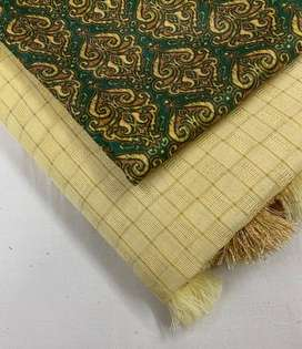 jute silk self chez saree with cotton tussels.