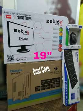 """New Full Set Desktop Dual Core CPU With 19"""" LED Hd Monitor 1 Year All"""