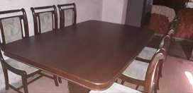 Sheham wooden dining table with six chairs