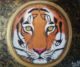"Acrylic painting of a lion. ""Lion's face in a golden frame"""