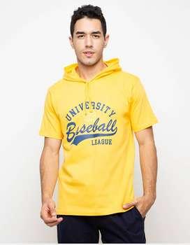 Kaos Hoodie Lengan Pendek University Baseball - Classic Yellow