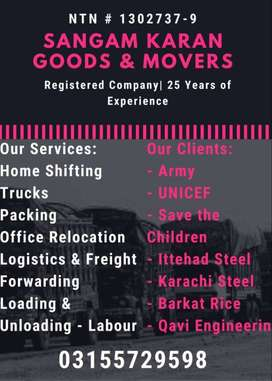SK Movers and Packers Provides Trucking, Packing, Labour Services