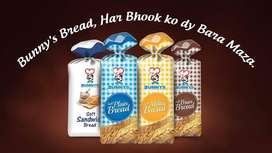 Bunnys bread k liye salesman basic and commisionband other benefits