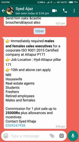 Sales and marketing persons required full time and  part time ,