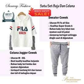 AM00405 Celana Setelan Satu set Sweater cewek dan celana joger