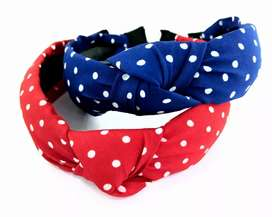 SRB New Korean style polka dot hairband | color- Red & Navy blue
