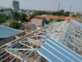 Kanopi baja ringan~Plafon pvc~Renovasi bongkar atap lama ~baja ringan