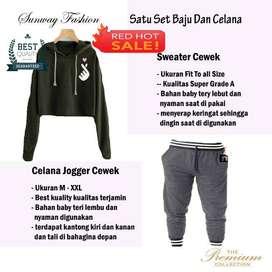 AM00787 Celana Setelan Satu set Sweater cewek dan celana joger