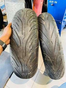 Less Used superbike tyre Michellin 180/55 road4, 120/70 Pirelli Angel