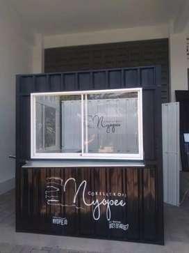 usaha franchise es kopi kekinian booth container,cicilan hingga 10bln