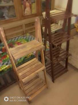 Wooden stands ladders