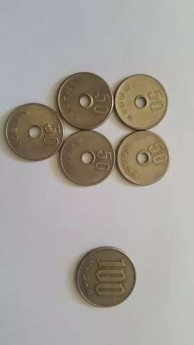 Japanese 50Yen(5) - Showa ,100-Yen(1)Showa