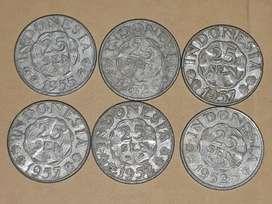 Uang Kuno pecahan 25sen tahun 1950an