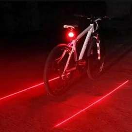Lampu sepeda belakang 5 led plus laser merah kedip statis safety ride
