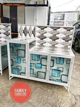 Rak Piring Kompor Keramik Tempahan Minimalist Motif Kotak Keramik 3d