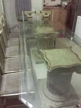 Heavy Glass Table with 10 Chairs