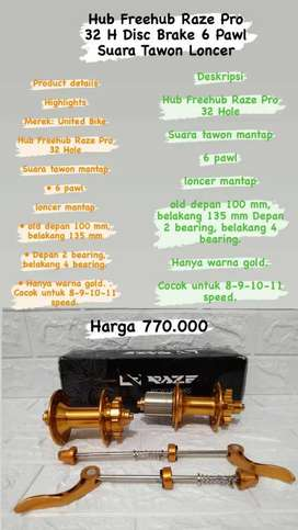 Hub Freehub Raze Pro 32 H Disc Brake 6 Pawl Suara Tawon Loncer