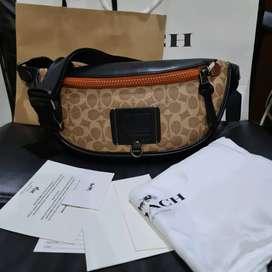 Tas selempang pria Coach Original FO bahan kulit asli lengkap paperbag