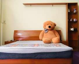 Wooden bed set with dressing