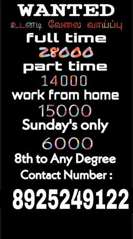 OFFICE WORK FULL TIME PART TIME SUNDAY'S