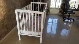 Fisher-Price Joy Baby Wooden Crib/Baby Cot with Mattress (White)