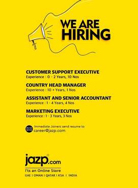 We hiring for customer support executive