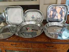 Stainless steel trays,plates,in all the 3 pictures priced forRs3000