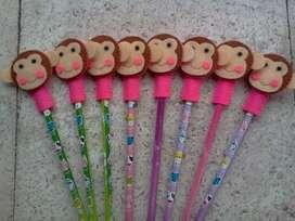 pensil karakter boneka keroppi, doraemon, hello kitty, untuk souvenir