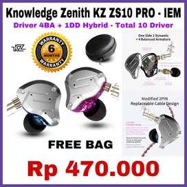 Earphone Knowledge Zenith KZ - ZS10 pro Hybrid IEM 4DD+1BA MANTAP