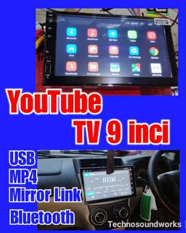 Tv 9 in sistim android YouTube MP4 USB double din tape for sound audio