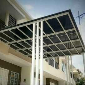 Canopy solarflat, alderon, genteng pasir, canopy kaca,kontruksi baja
