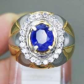 Batu Cincin Blue Safir Selon Srilangka Asli