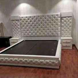 Grey big back design bed