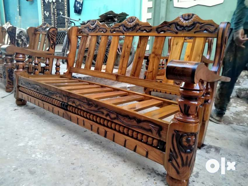 BRAND NEW PURE MYSORE TEAKWOOD WOODEN SOFA SET WITH CUSHIONS (3+1 +1)