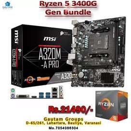 RYZEN5 3400G CPU A320BORD MSI 3YEAR WARRANTY FIX PRICE GAUTAM GROUPS