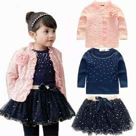 Set gaun little angel dengan lapisan tutu warna biru