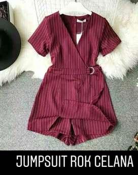 Jumpsuit rok celana wedges Import