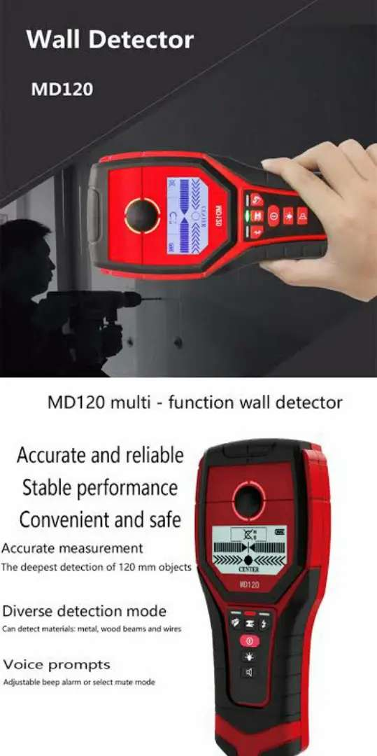 MD120 Wall Metal Detector Wood AC Cable civil electric mechanical