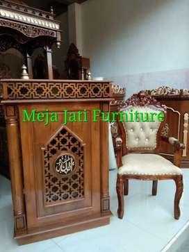 Mimbar masjid motif R61 kayu jati