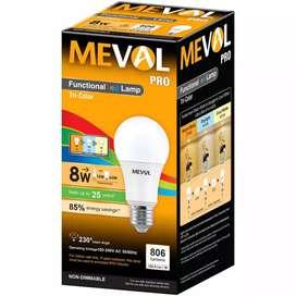 Bohlam LED 8 Watt 3 warna (Putih, Kuning, Semi kuning)