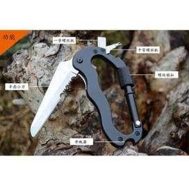 KNIFEZER Karabiner Pisau Lipat 5in1 Knife Survival EDC