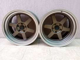 "Brand New Rays TE37 18"" Alloy Wheels Rims Staggered"