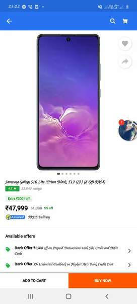 Samsung s 10 lite h with all asserieos and bill and box