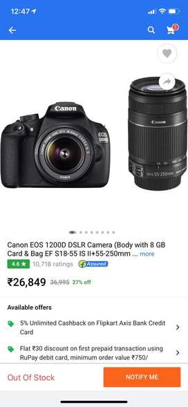 Canon EOS 1200D DSLR Camera (Body with 8 GB Card) with double lens