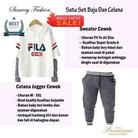 AM00406 Celana Setelan Satu set Sweater cewek dan celana joger