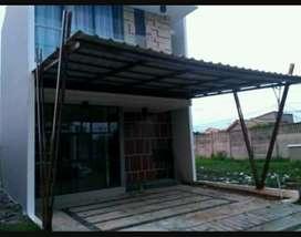 Kanopy rangka tunggal,atap spandek desain elegan cantik.21