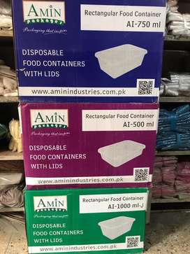 500 ml Amin Plastic Disposable Box Complete Range Food Packaging