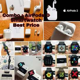 Free Shipping -Combo AirPods 2 And W34 Smartwatch Series 5 Model - COD
