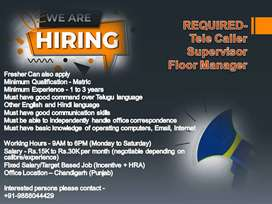 Required Tele Caller, Supervisor, Floor Manager